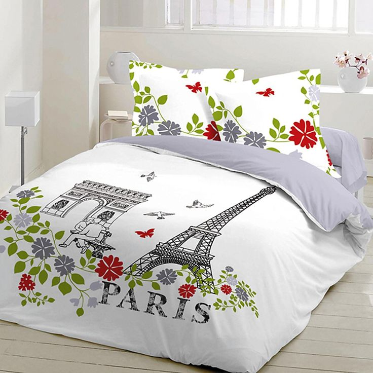 paris parure de lit 100 coton housse de couette et. Black Bedroom Furniture Sets. Home Design Ideas
