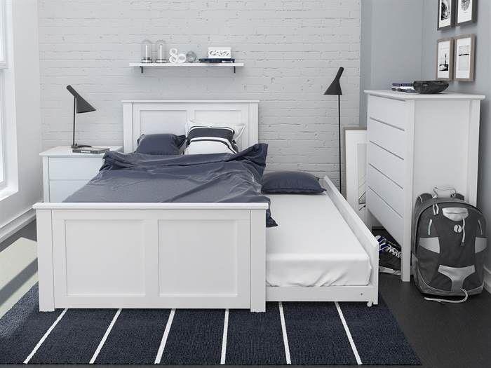 Bella White King Single Trundle Bed Hardwood Frame Single