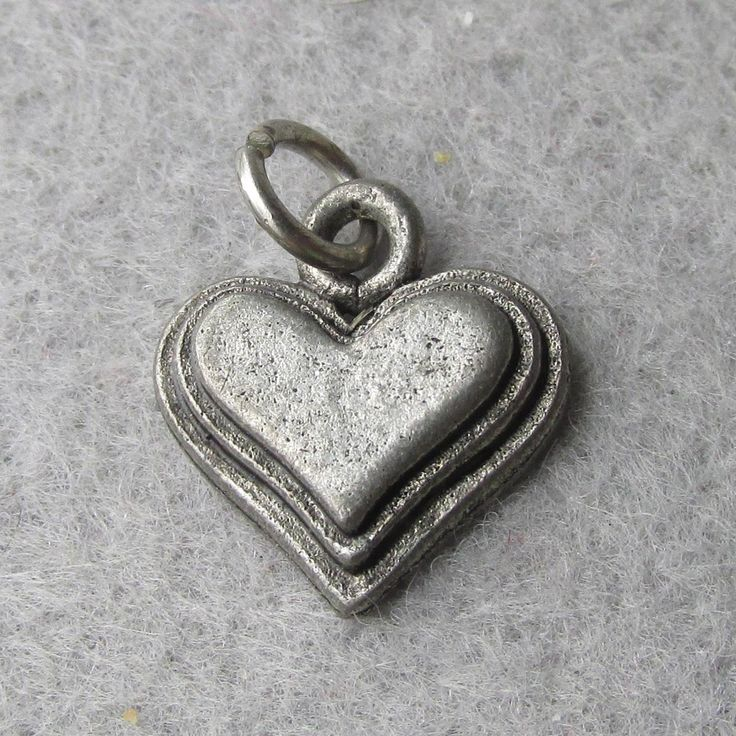 Vintage 1940's Sterling Silver Double Beveled Edge Flat Heart Charm