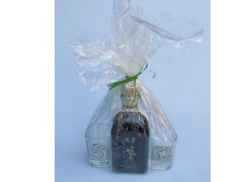 OsMaios - Cristal y 2 vasos adorno Estaño LICOR o CREMA ARTESANAL