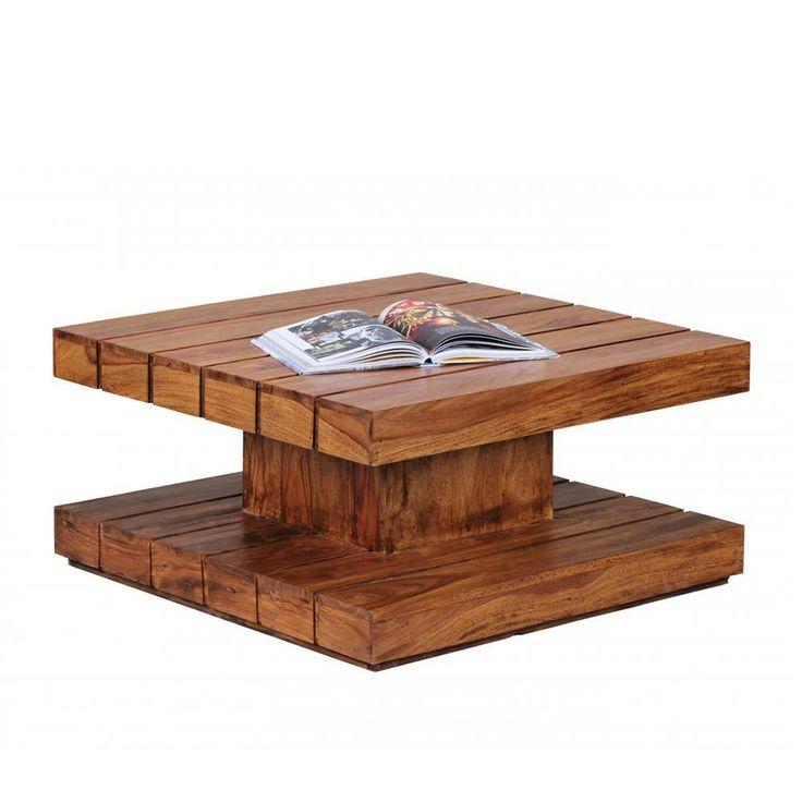 Wohnzimmer couchtisch aus sheesham massivholz 80 cm jetzt for Echtholztisch wohnzimmer