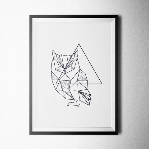 Minimal Geometric Owl - Buy First Art Print -  https://fancy.com/things/961846695975455905/Minimal-Geometric-Owl-Print