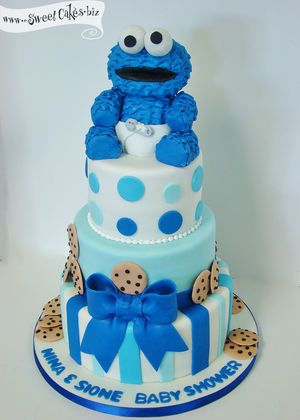 baby cookie monster baby shower cake