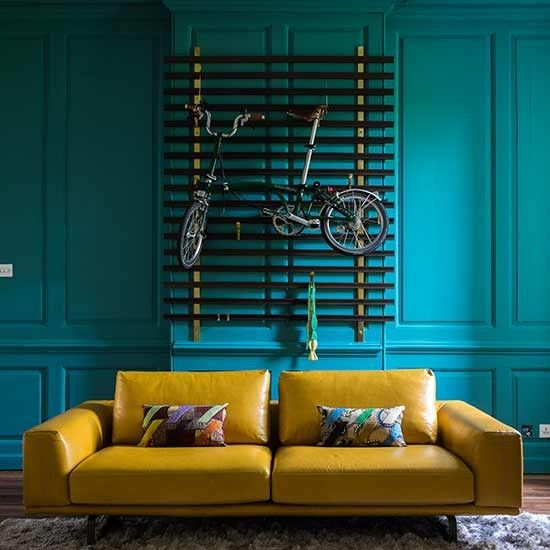 dark teal living room curtains mustard rooms bold blue brown ideas