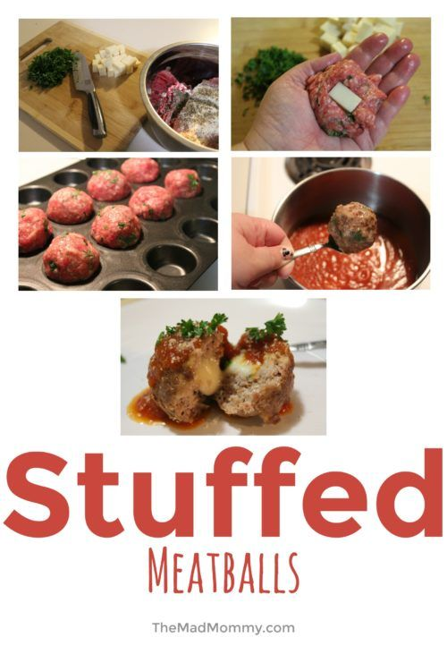 Mozzarella Stuffed Meatballs #recipes #food via @IrkedMommy  http://themadmommy.com/mozzarella-stuffed-meatballs