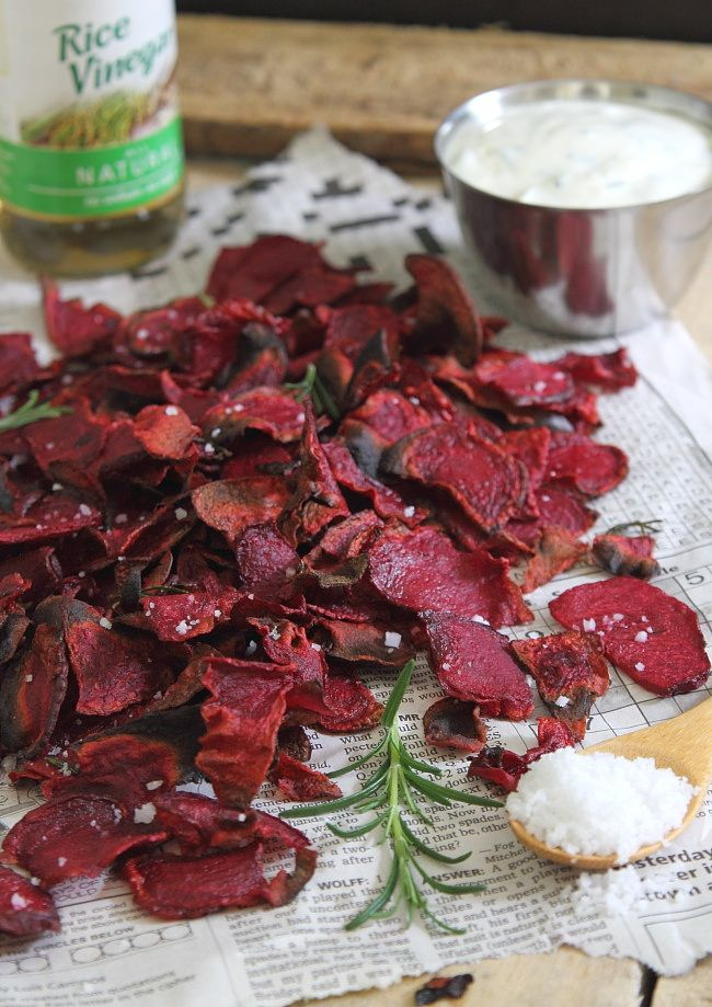 Sea salt and vinegar beet chips - Running to the Kitchen - Now I know what to do with some of our big beetroots!