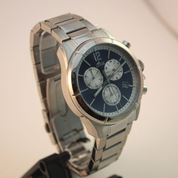 Reloj lotus para hombre con cadena de acero y esfera azul - Reloj de cadena ...