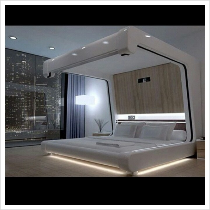 Futuristic bedroom dream room pinterest modern bed for Purple bedroom designs modern