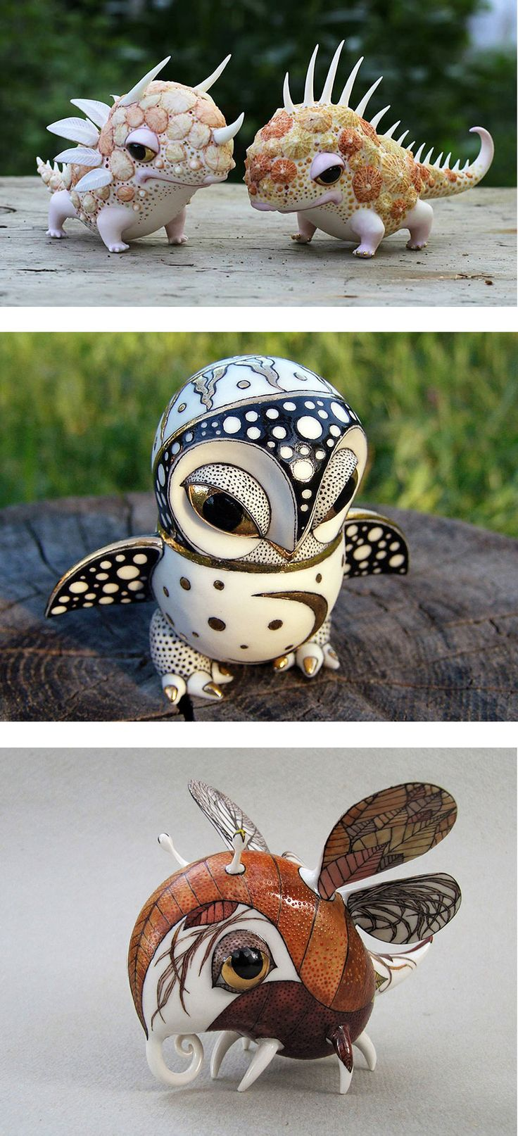 Whimsical porcelain creatures by Ukranian artists Anya Stasenko & Slava Leontyev. Lots more at the link.