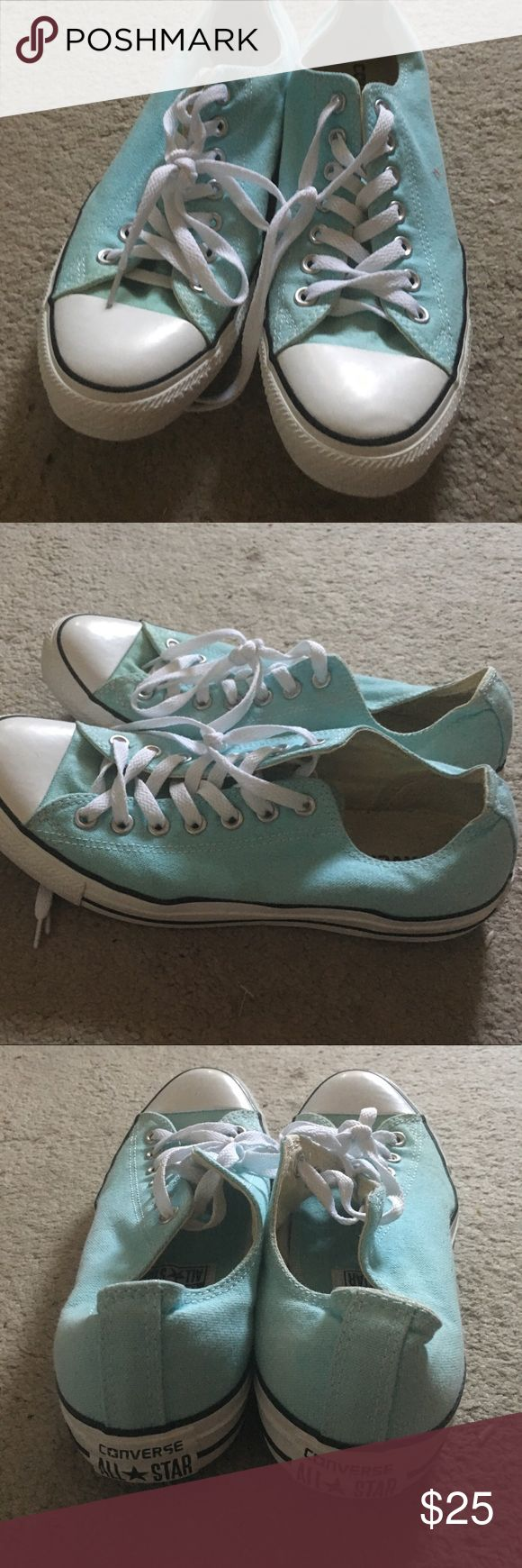 Converse sky blue Women 11 Mens 9 Purchased from converse store worn three times to universal studios just too small on me now has small spot on left side as pictured hard to see amazing condition aside Converse Shoes Sneakers