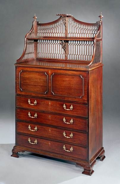 A GEORGE III MAHOGANY SECRÉTAIRE CABINET - English Antique Furniture – Ronald Phillips...