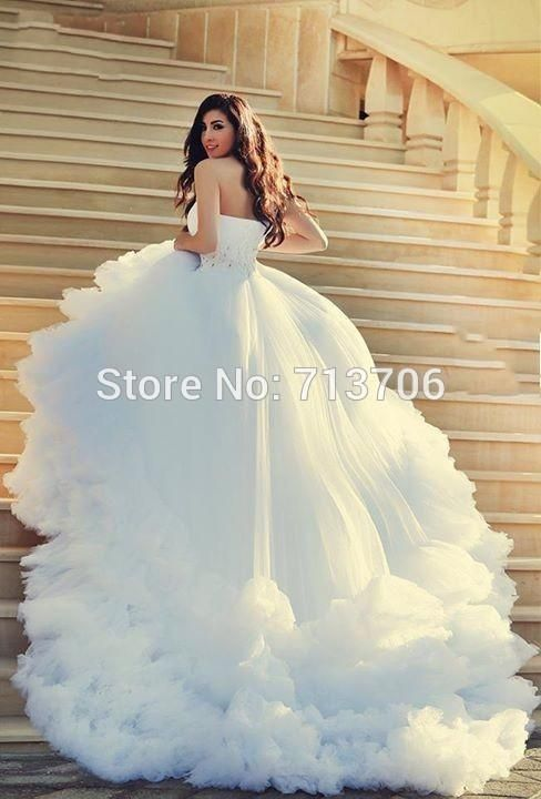 Vestido De Noiva Luxury One Shoulder Beaded Bridal gown Fast Shipping  Cathedral Train Long Tail Wedding Dresses  vintageweddingdresses   weddingdresses ... aa8cdc4b965e