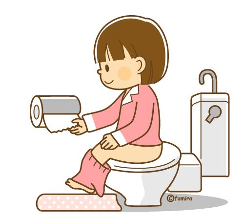 トイレに行く女の子のイラスト(ソフト)