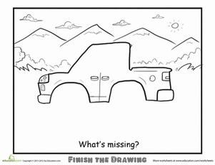 Second Grade Vehicles Worksheets: Finish the Drawing: What's Missing?