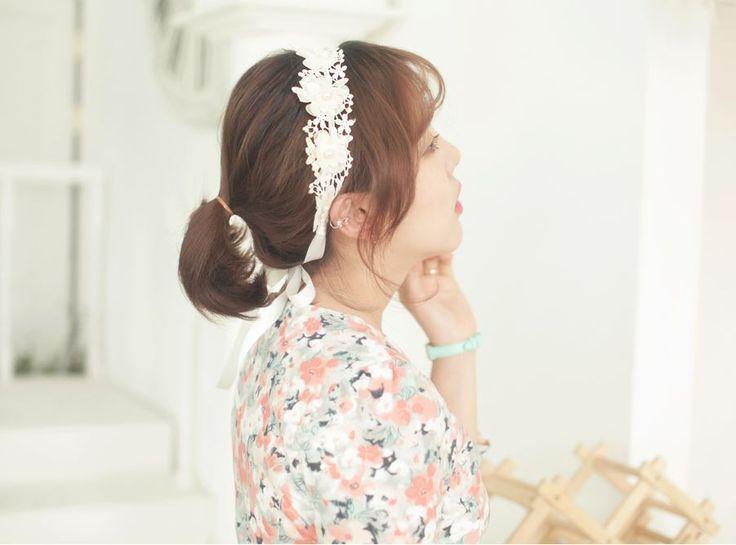 [Kitsch Island] Flower Ribbon hair Band for semi wedding