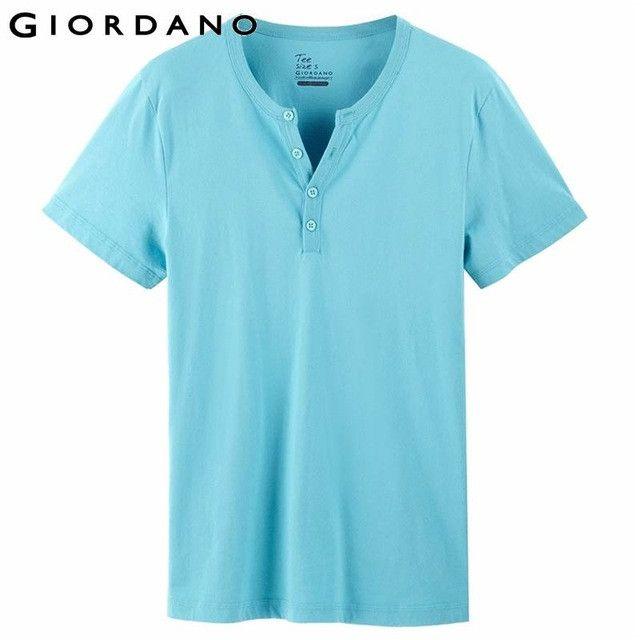 Men Henley T-shirt Solid Cotton Tees Short Sleeves Men Clothing Tops Summer Slim Hombre