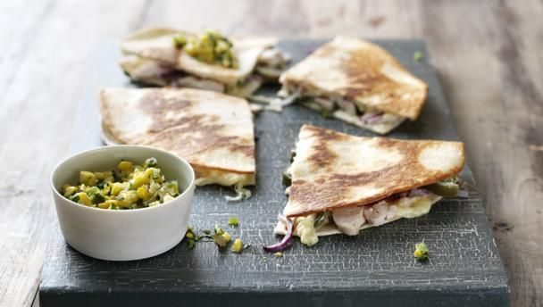 Chicken quesadillas and sweetcorn salsa |      Use up leftover roast chicken in James Martin's family-friendly quesadillas.