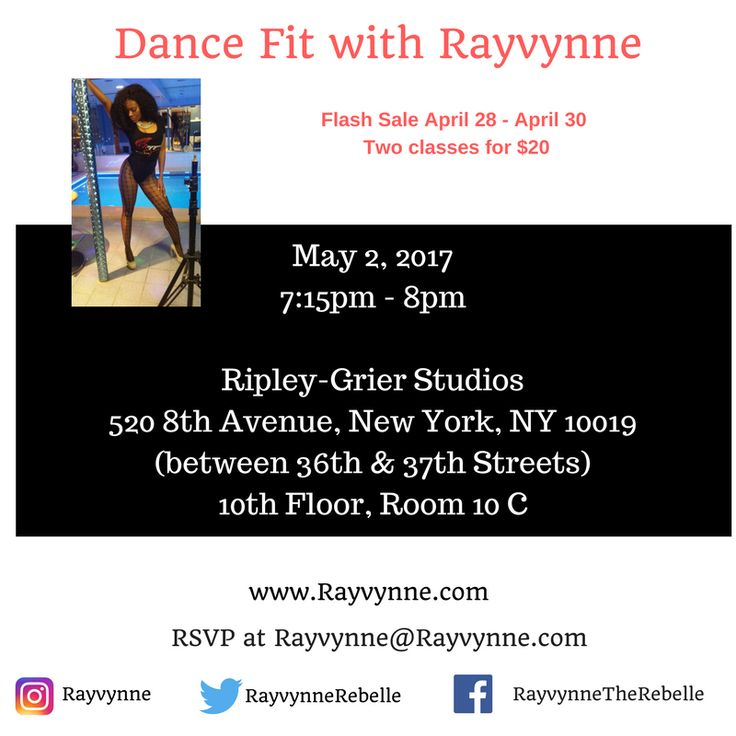 Come burn calories with group fitness instructor Rayvynne at her Dance Fit classes in Midtown-Manhattan. Dance Fit with Rayvynne is a dance fitness fusion of aerobics, dancehall, soca, twerking and booty-popping. Burn from 300 - 800 calories.  Come sweat, smile and have a great time!