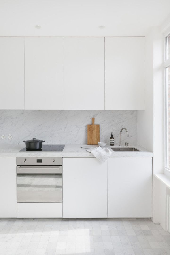 white and black kitchen + clean kitchen + minimal decor ...