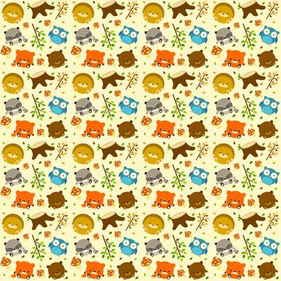 woodcritters_print_01 fabric by waikai on Spoonflower - custom fabric    ahhhh! so cute. Little fat animals. Love it.