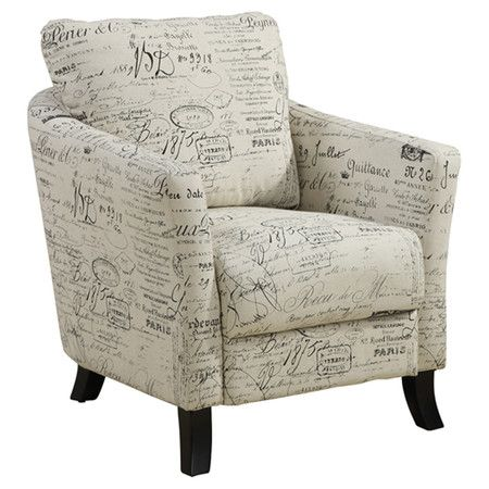 Upholstered Arm Chair With A French Script Motif And Foam