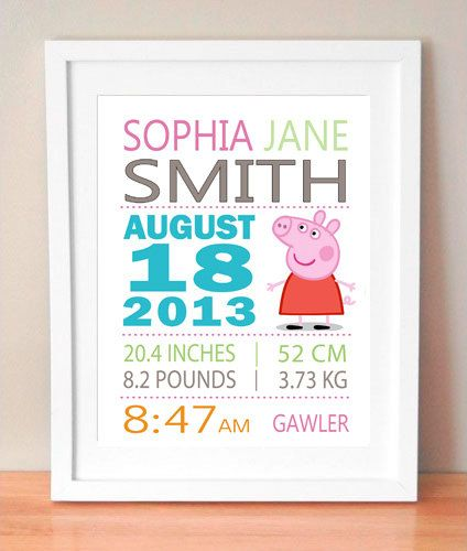 "Baby girl modern typography birth nursery art print, fully customisable $25 for a 11"" x 14"""