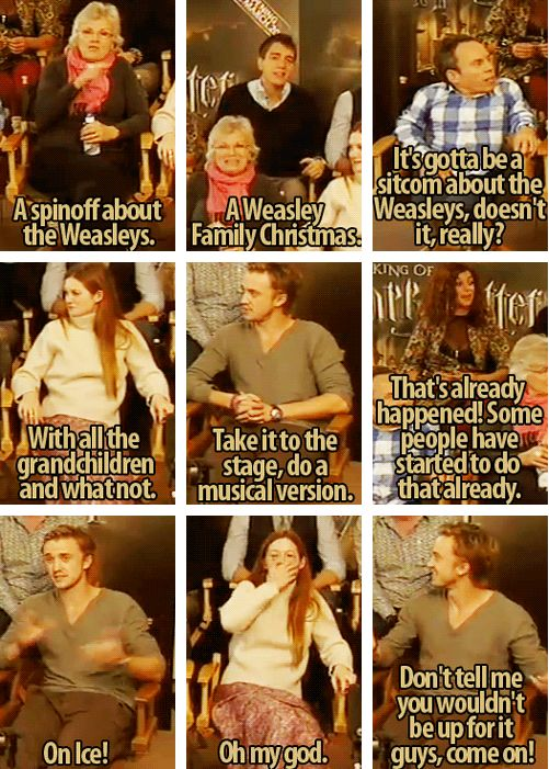 "Tom Felton is SO BEHIND THIS IDEA (and Tonks is all ""Haven't you people HEARD of A Very Potter Musical? Oh my wizard God..."")"