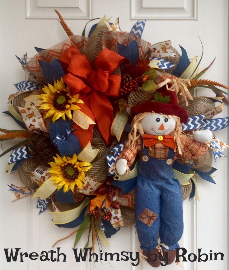 Autumn Burlap Mesh Scarecrow Wreath with Sunflowers in Denim, Orange & Yellow, Fall Wreath, Front Door Wreath by WreathWhimsybyRobin on Etsy