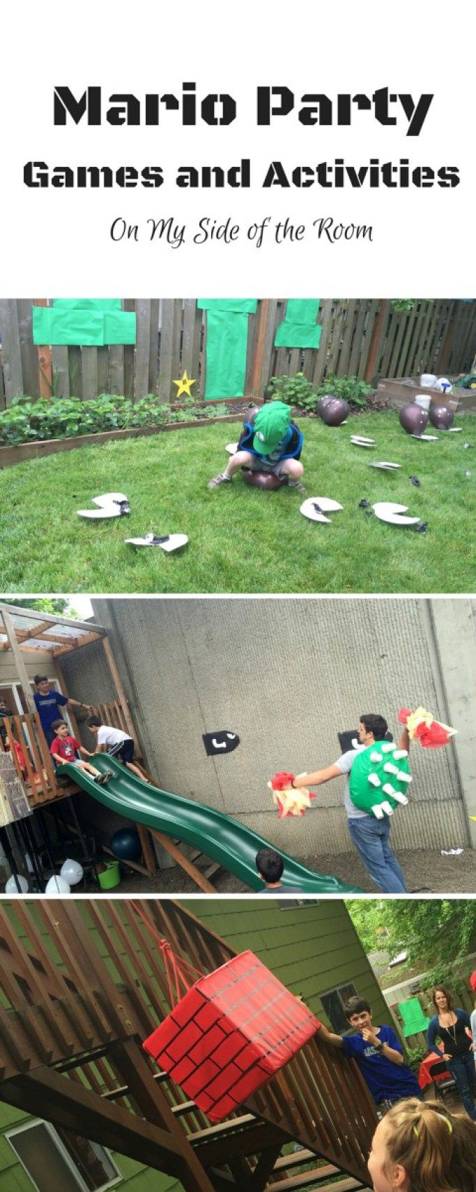 Mario Birthday Party Games and Activities. Scavenger hunt through warp tubes, piranha plants, stomp the goomba, collect coins, through the sea, past the ghost and on to Bowers castle!