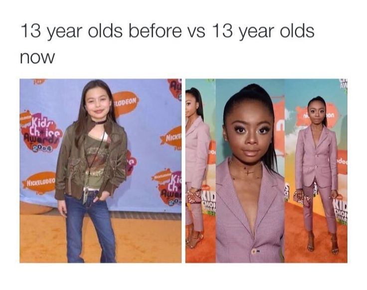 13 year olds then vs 13 year olds now Talk about pushing girls appearance expectation...fuck Barbie, this does way more damage.
