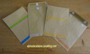 """on peut plastifier des enveloppes ! Il suffit de les plastifier ouvertes, de les découper et de faire une légère incision au niveau de l'ouverture de l'enveloppe afin de séparer le """"dessus"""" du """"dessous"""". On ajoute 1 ou 2 velcros"""