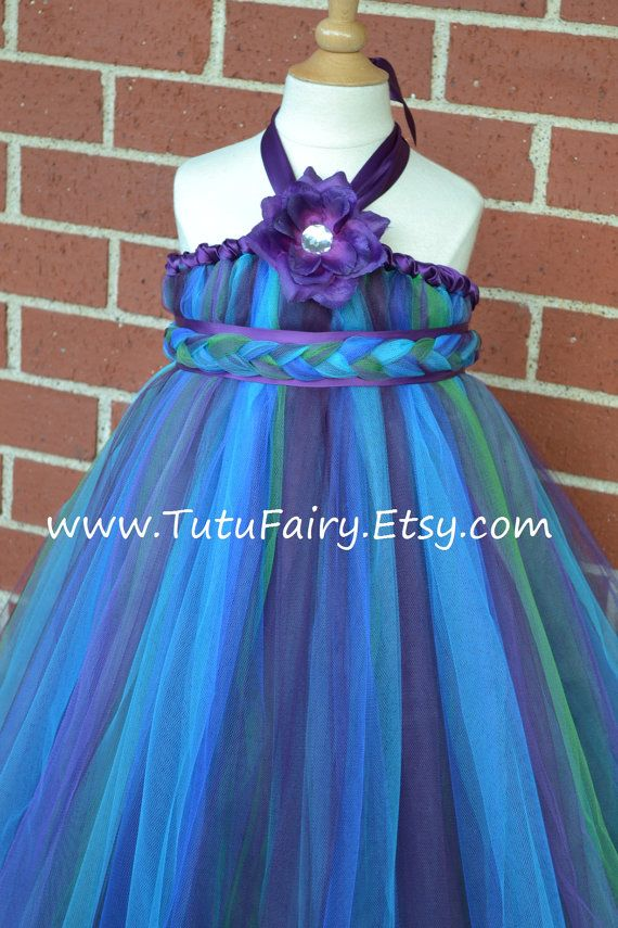 Midnight Peacock Tutu Dress.... Braided Sash.... Satin Hair Bow.. ...could I make this for lily's costume?