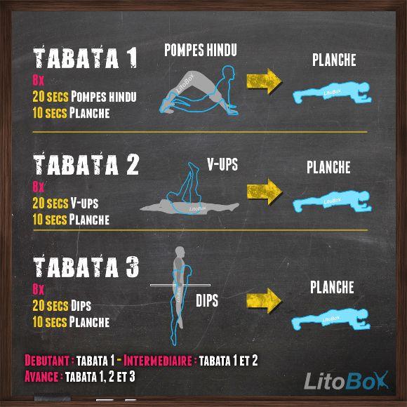 J'ai une petite blessure au talon donc je modifie mon entraînement -> Aujourd'hui ça sera 3 exercices Tabata haut du corps pour 12 minutes d'entraînement intensif !  Bon courage !  #litobox #tabata