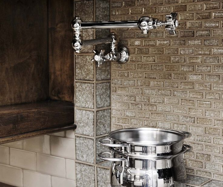 Glass Tile Backsplash U0026 Pot Filler   Designed By: Linda McDougald Design/  Postcard From Paris
