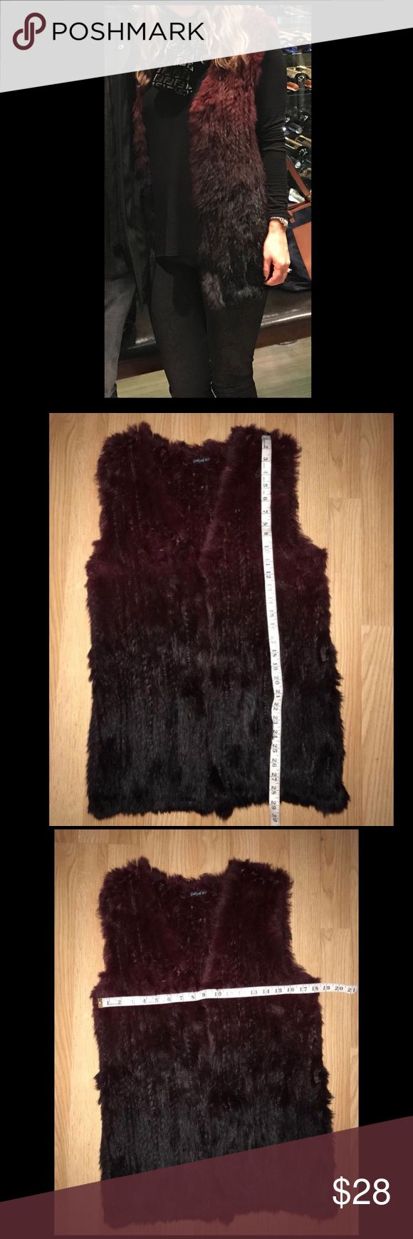 Rabbit Fur Long Vest two tones Black & Purple. Cute but hard to photograph hombre Gabey Eden Rabbit Fur Vest  Light weight  Size S/M Good condition Two tones  Black & Purple Open to reasonable offers. Jackets & Coats Vests