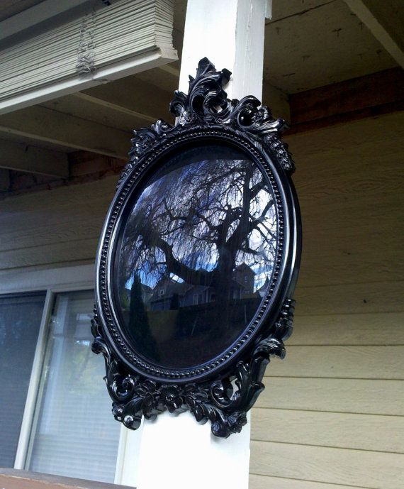 Black Scrying Mirror In Large Oval Vintage Frame Convex