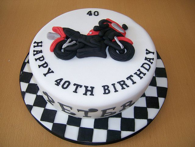 Motorcycle checkered flag birthday cake  Race / motorcycle party