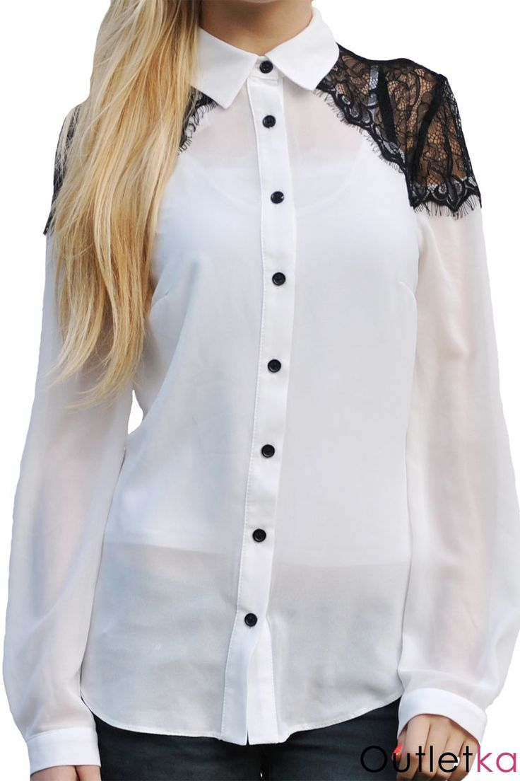 Nowa szyfonowa koszula firmy New Look na długi rękaw. Koszula w kolorze białym. Zapinana z przodu na guziki. Posiada kołnierzyk. Ramiona zdobione czarną koronką, dającą oryginalny i ciekawy wygląd. Rękawy zapinane na czarne guziczki. Uszyta jest z przyjemnego w dotyku materiału.