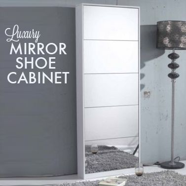 Stylish Full Length Mirrored Shoe Cabinet | Buy Wardrobes & Storage | MyDeal