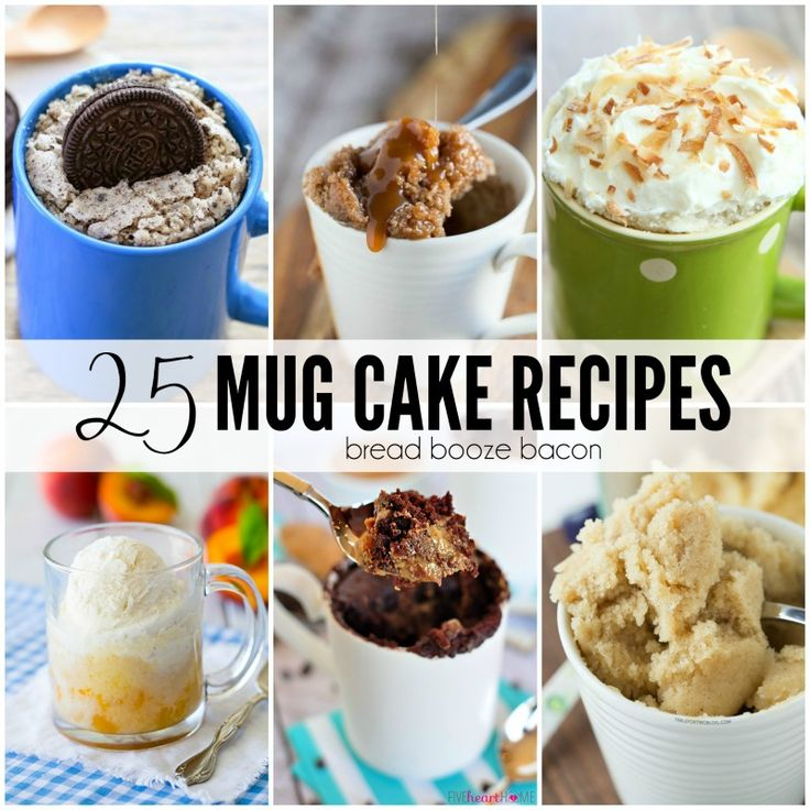 Dessert is my favorite course in any meal, but I don't need an entire cake staring me down after I bake. That's why I love the 25 Mug Cake Recipes. They're the perfect little, single-serving dessert for any occasion. Cinnamon Roll Mug Cake | Triple Coconut Mug Cake | One-Minute Chocolate Peanut Butter Mug Cake | Blueberry Muffin Mug Cake | 2-Minute Pumpkin Coffee Cake in a Mug Cookies N' Cream Mug Cake