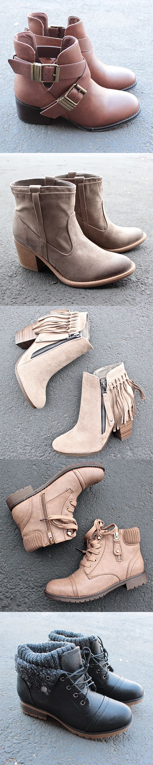 cut out booties, fringe booties, sweater booties & all thing ankle boots - our new obsession! Check out our boot selection at http://www.shophearts.com