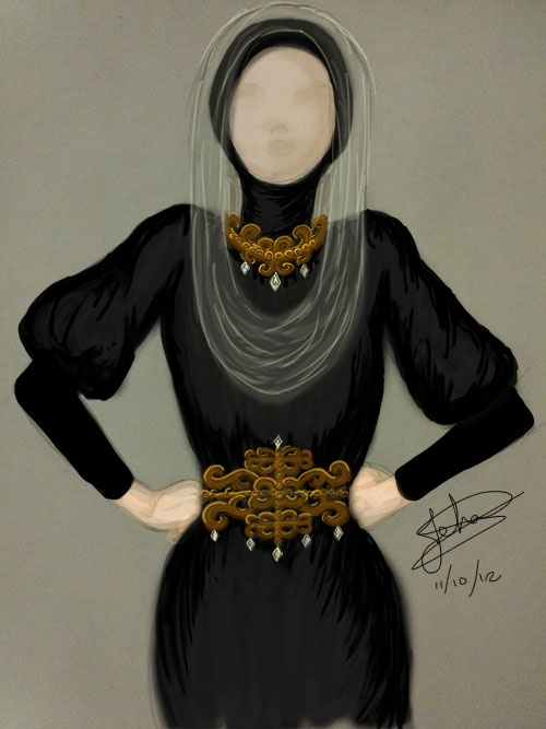 Wearing hijab in this way can show the necklace