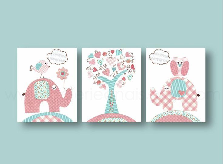 Lot de 3 illustrations art pour enfant et bebe rose turquois : Décoration pour enfants par galerie-anais