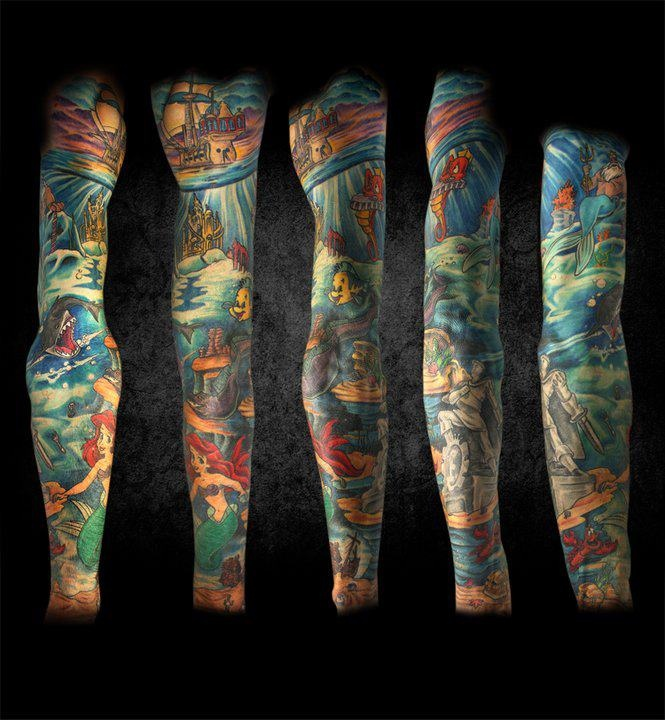 Amazing Little Mermaid tattoo if I ever were to get a arm sleeve this would be it!!