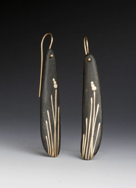 """Kebyar Sea Grass Earrings: This series was inspired by the tenacious nature of sea grass. Though battered daily by wind and surf, it stands tall and strong, protecting fragile shores. Kebyar is a Balanese word meaning """"the process of flowering"""". ,  Deb Hutchison"""
