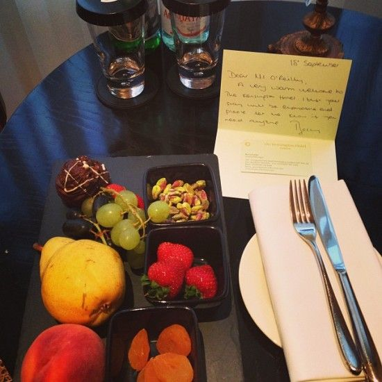 Welcome number one - water, fruit (fresh and dried) and chocolates... (My hOtel: The Kensington Hotel, London)