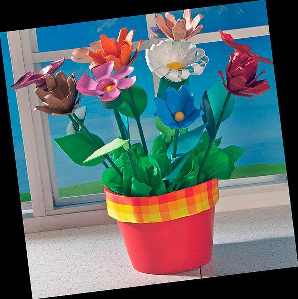 Flores multicolores con material reciclado