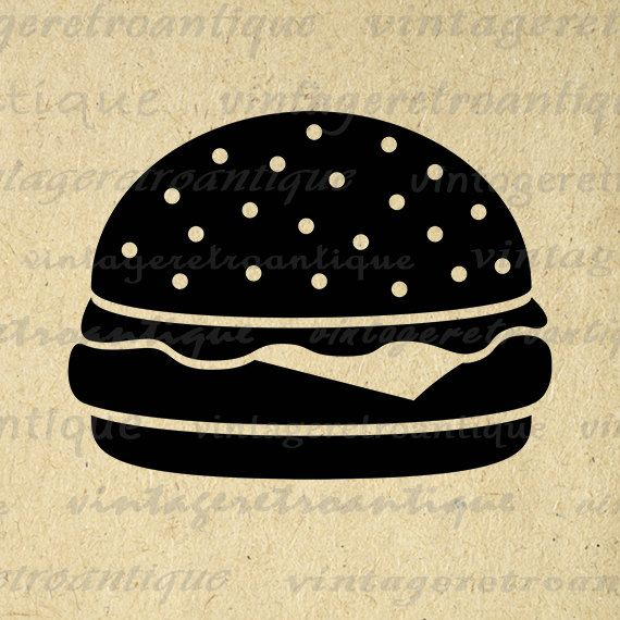 Printable Digital Hamburger Image Download Cheeseburger Graphic Artwork Jpg Png Eps 18x18 HQ 300dpi No.4017 @ vintageretroantique.etsy.com