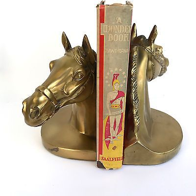 Vintage PM Craftsman PWC89B Florida Eaton Park Brass Heavy Horse Head Bookends