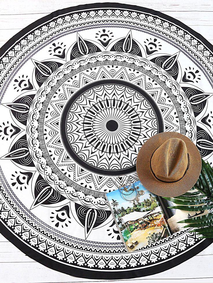 Черный И Белый Племенной Печать Урожай Круглый Пляжное Одеяло -Шеин(Sheinside)